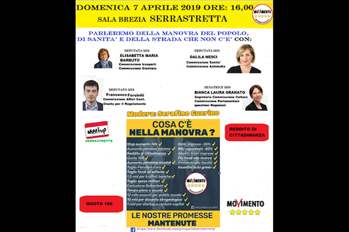 Domenica 7 aprile 2019 a Serrastretta i Parlamentari 5 Stelle incontrano la Cittadinanza