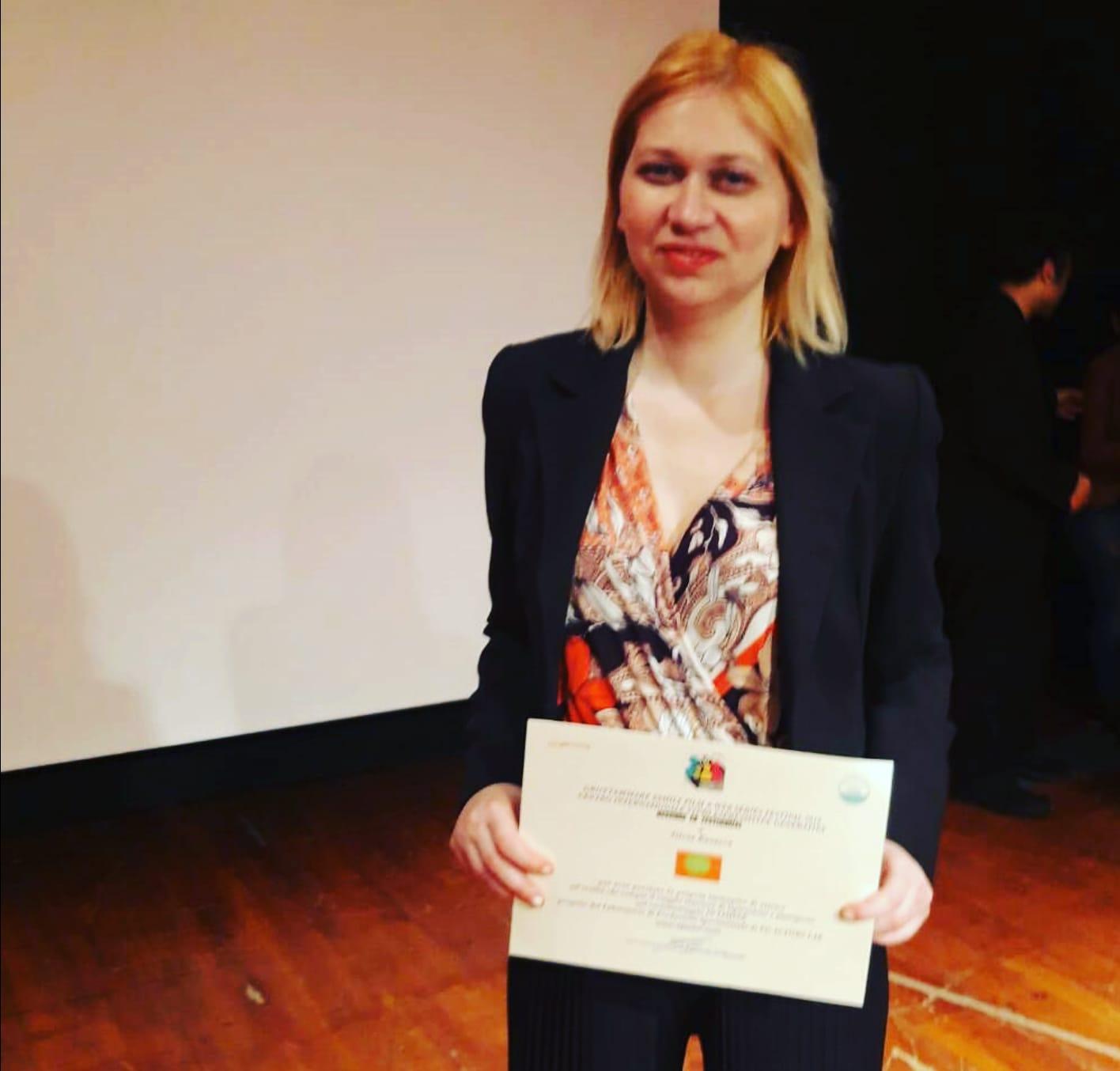 Silvia Busacca l'attrice protagonista di IN LIMINE premiata al Grottammare film festival