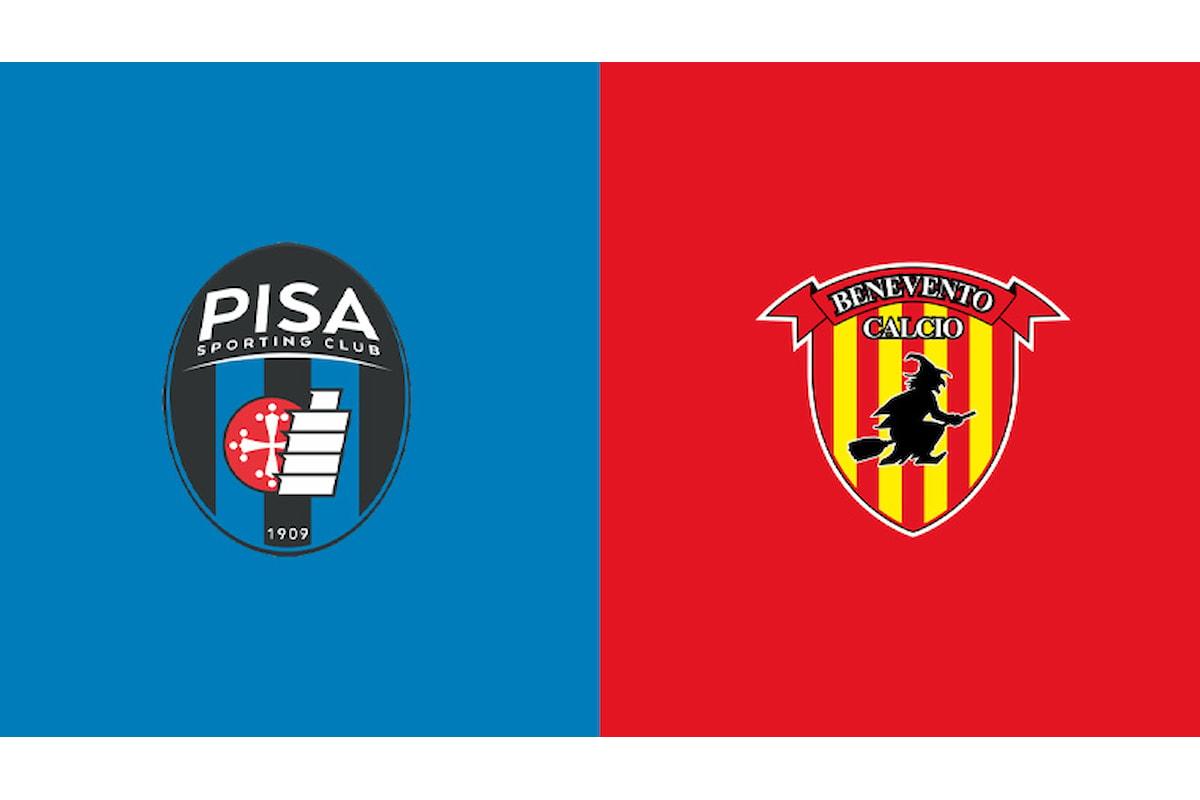 Serie B 1^ giornata, anticipo Pisa-Benevento: Giallorossi a trazione anteriore