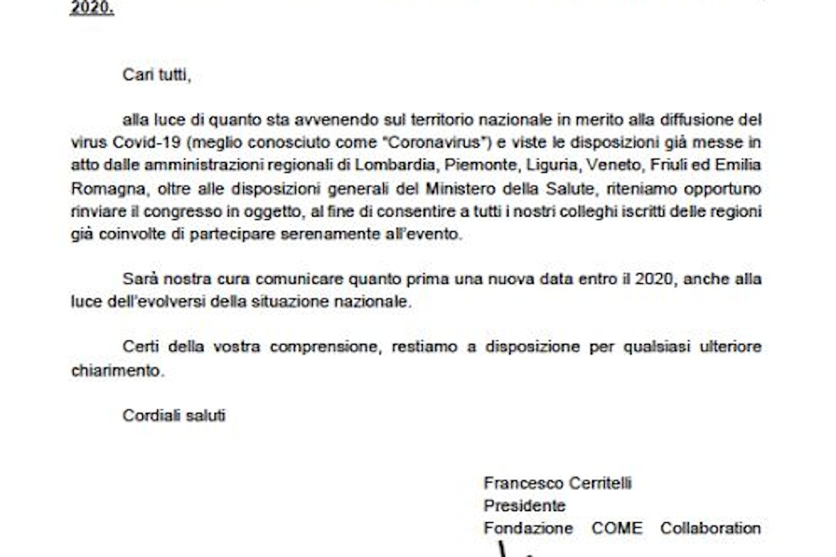 Avviso Rinvio Congresso QUANTUM IT 2020: Roma 29 febbraio – 1 marzo 2020