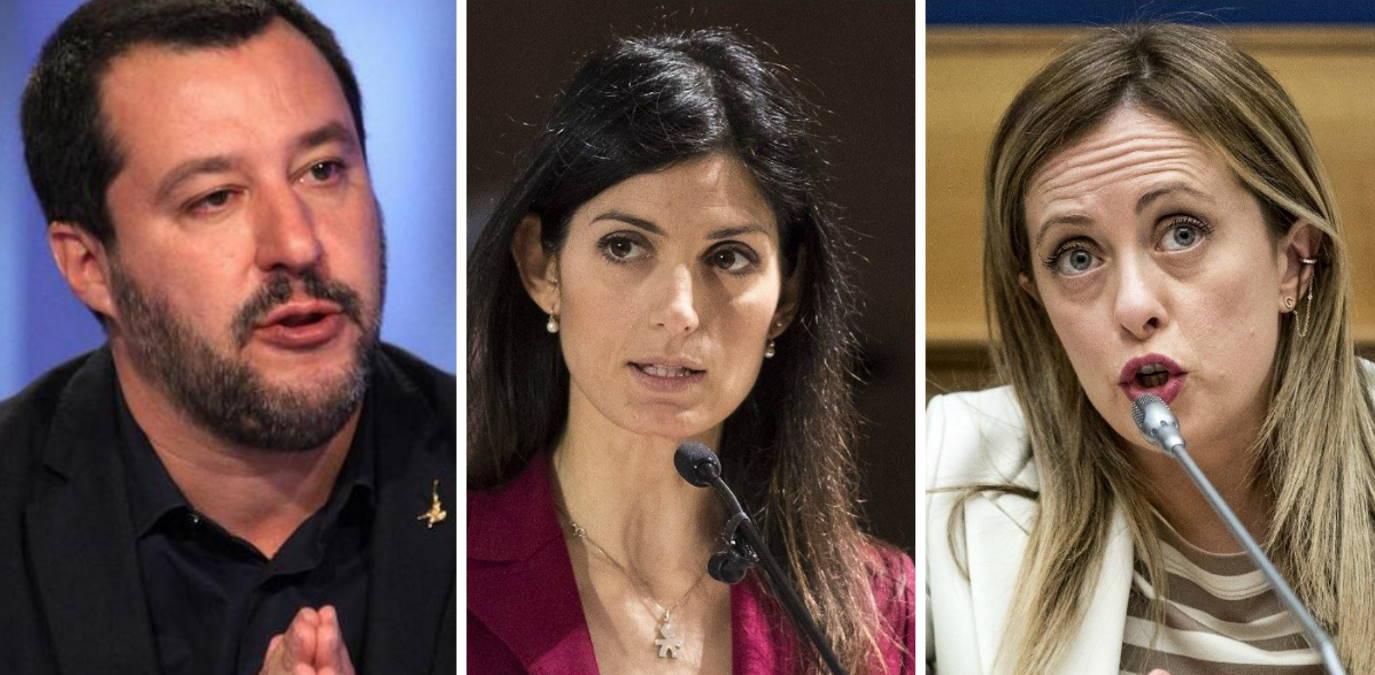 La Raggi si ricandida: Salvini e Meloni festeggiano