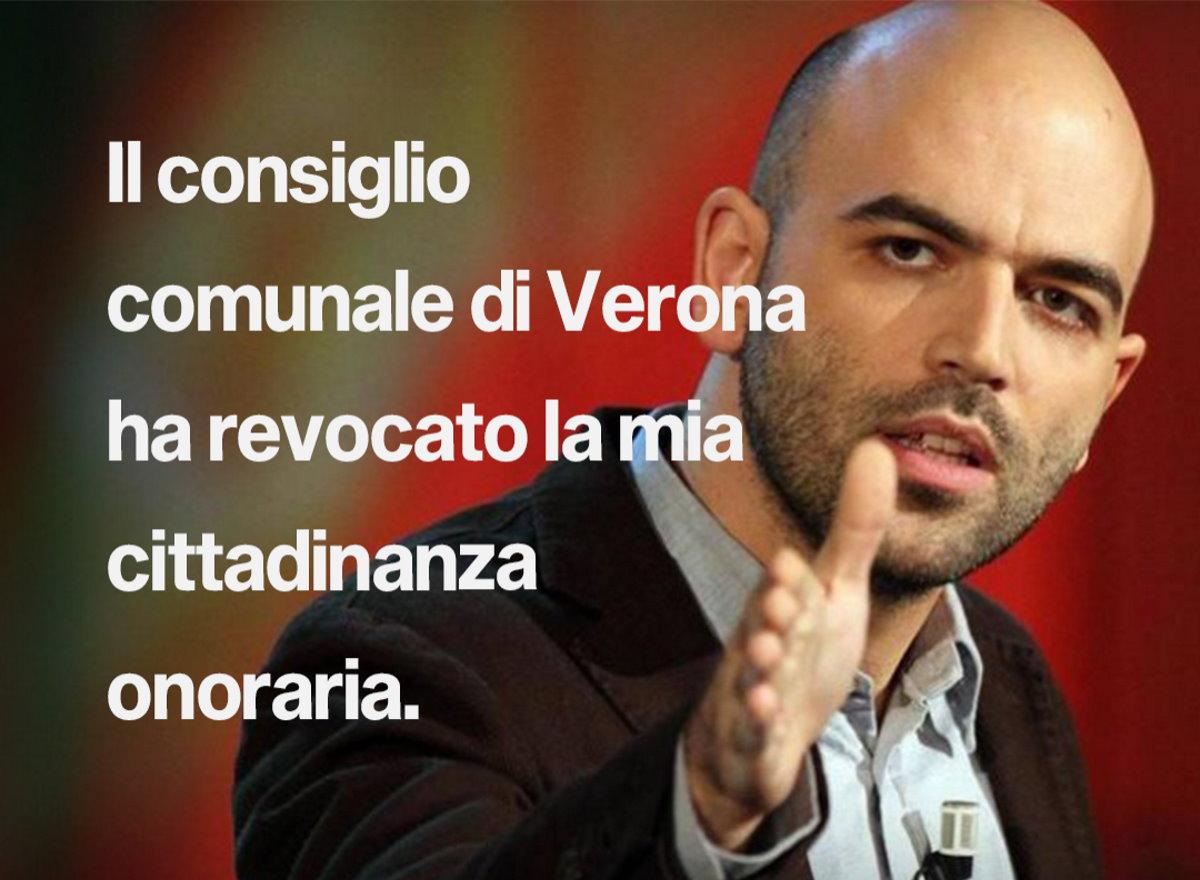 Fa discutere la revoca della cittadinanza di Verona a Saviano: già quasi 6mila le firme di chi si oppone