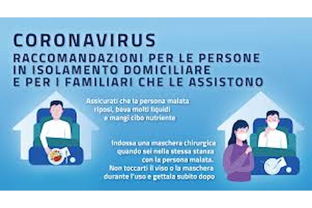 COVID-19: raccomandazioni per le persone in isolamento domiciliare e per i familiari che le assistono