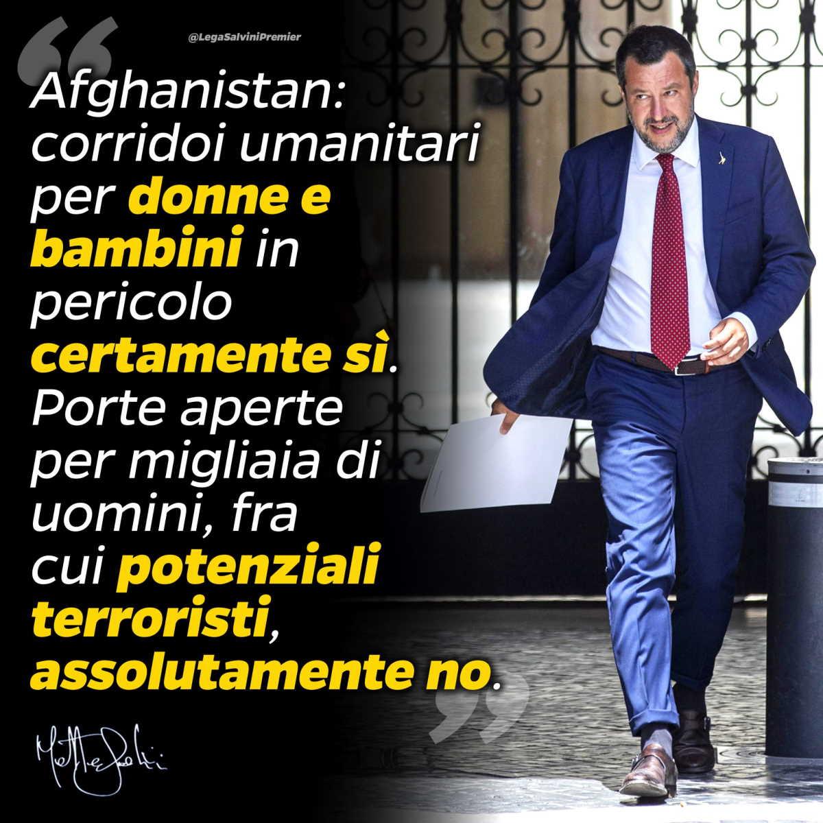 Il soccorso umanitario da offrire al popolo afgano secondo Meloni e Salvini