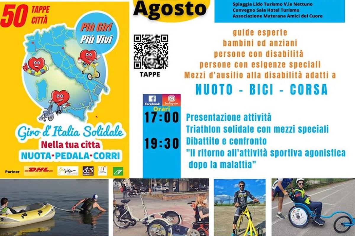 Gli Amici del Cuore di Matera con il Giro d'Italia solidale a Metaponto