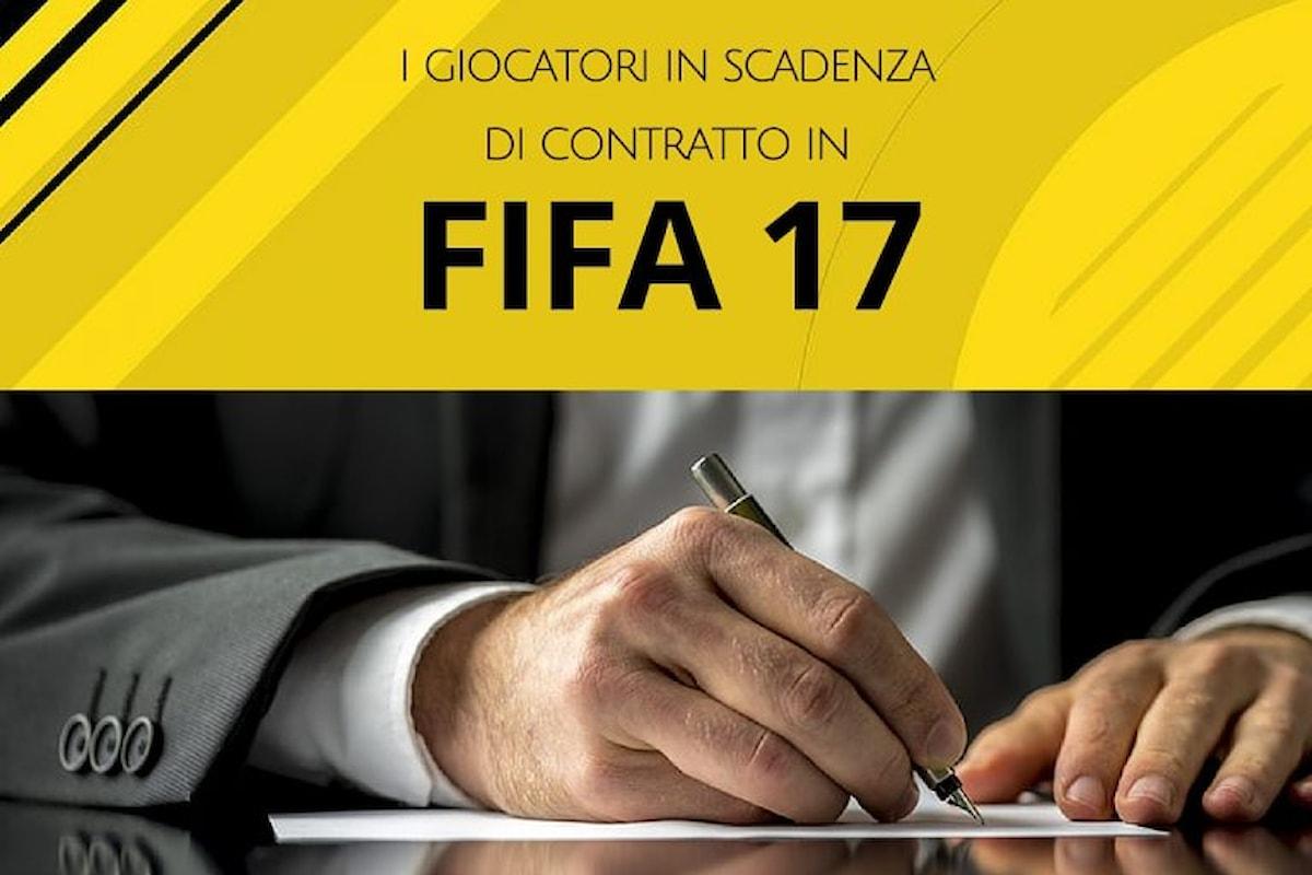 Fifa 17: i calciatori in scadenza di contratto per la modalità carriera
