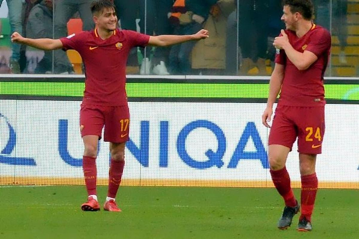 La Roma vince 2-0 sull'Udinese e supera l'Inter al terzo posto