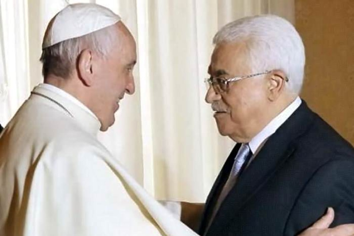 Il presidente palestinese Mahmoud Abbas in udienza da Papa Francesco