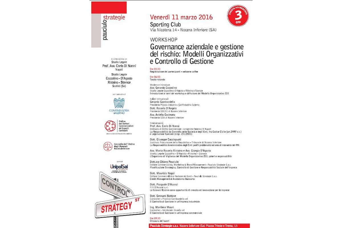 workshop Pauciulo Strategie Governance aziendale e gestione del rischio: Modelli Organizzativi e Controllo di Gestione