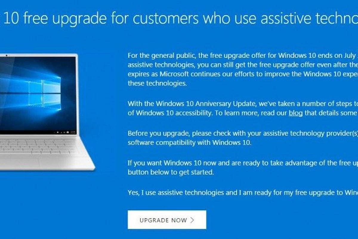 Spiraglio ancora aperto per aggiornare gratuitamente il sistema a windows 10