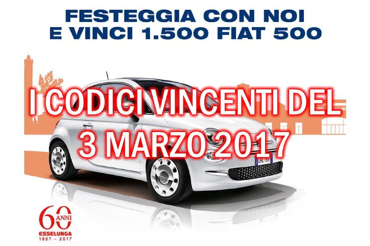 Esselunga: codici vincenti Fiat 500, estrazione del 3 marzo