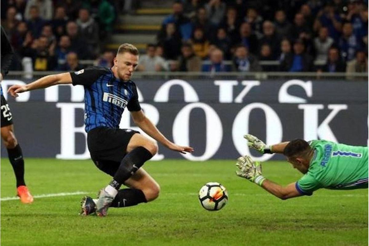 A San Siro l'Inter batte la Sampdoria 3-2 e va in testa alla serie A