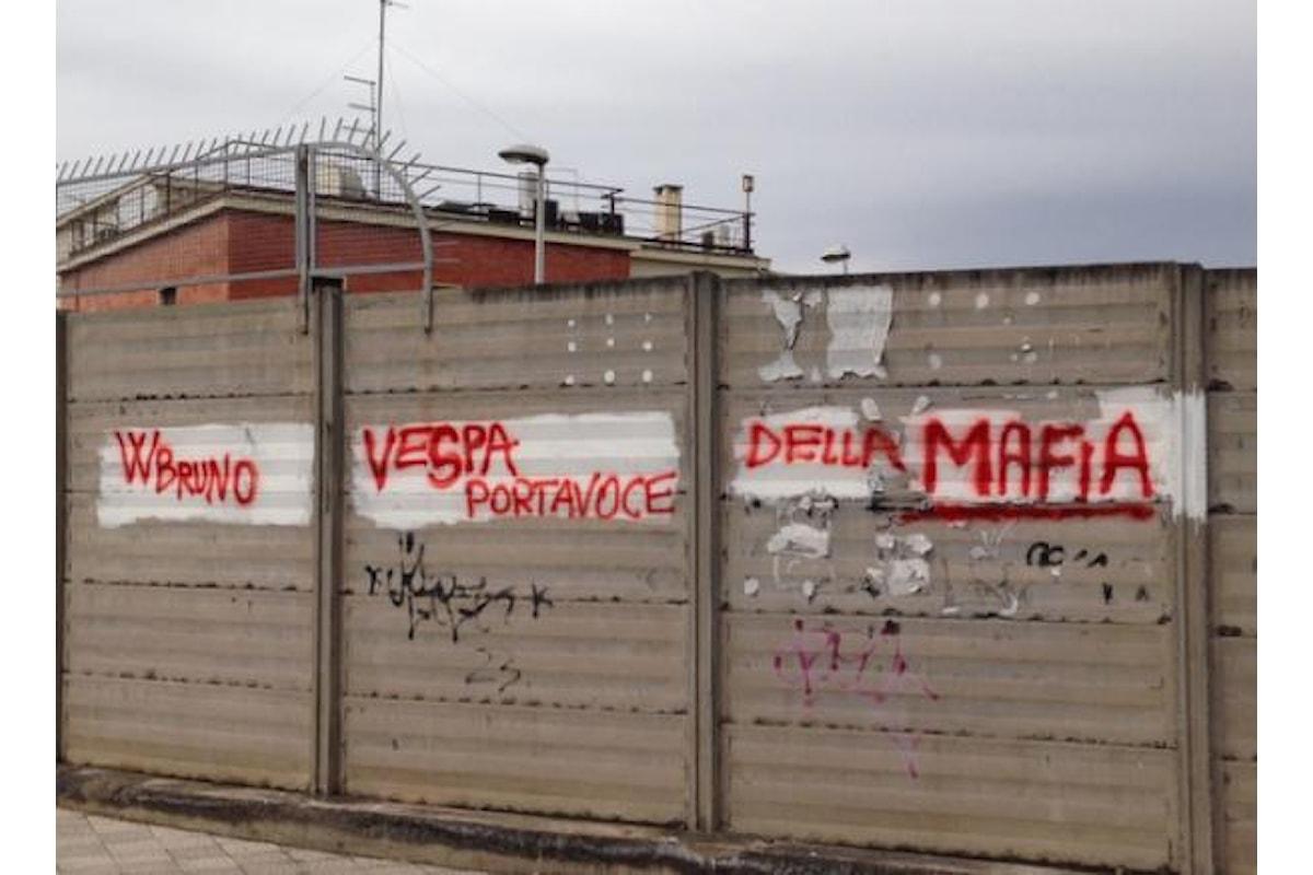 Catania, spunta la scritta W Bruno Vespa, portavoce della Mafia