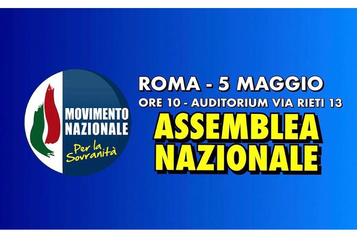 Il Movimento Nazionale per la Sovranità si riunisce il 5 maggio alle ore 10 a Roma