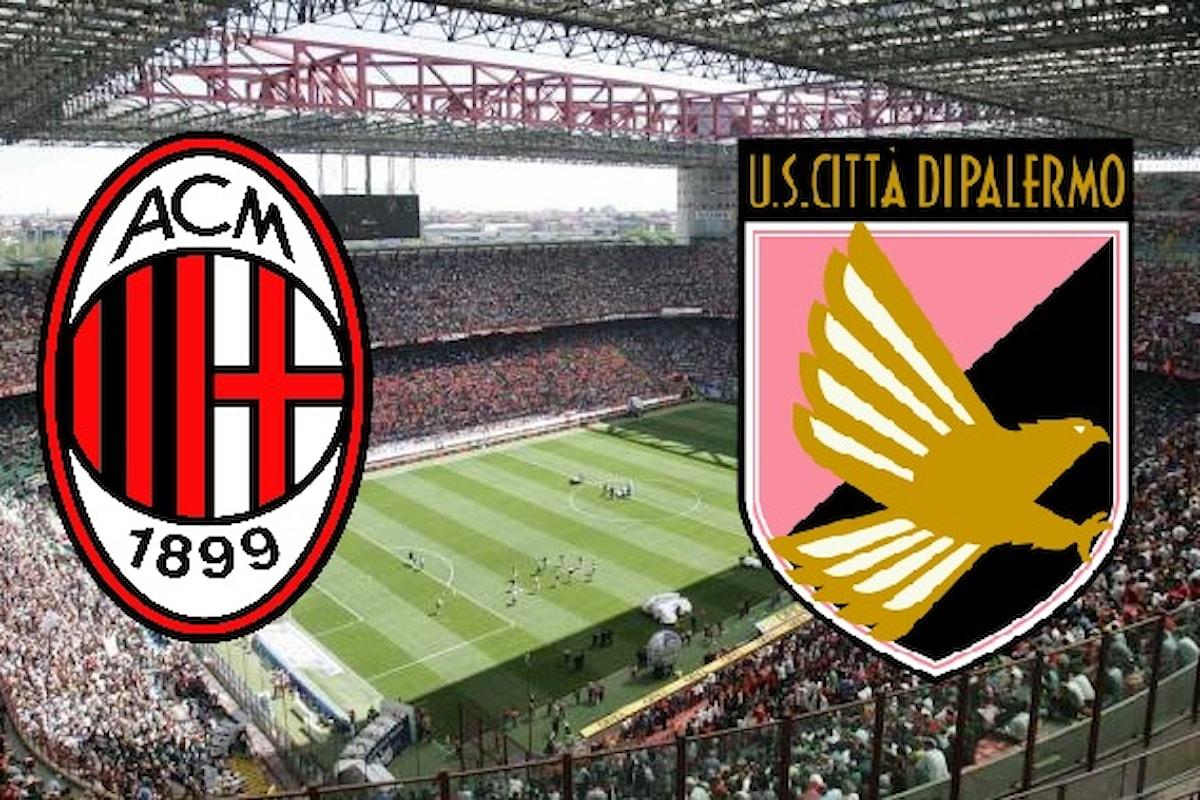 LIVE Milan-Palermo diretta tempo reale: tutti gli aggiornamenti minuto per minuto!!