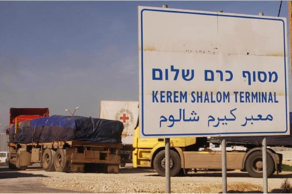 Israele inasprisce il blocco della Striscia di Gaza chiudendo il valico di Kerem Shalom