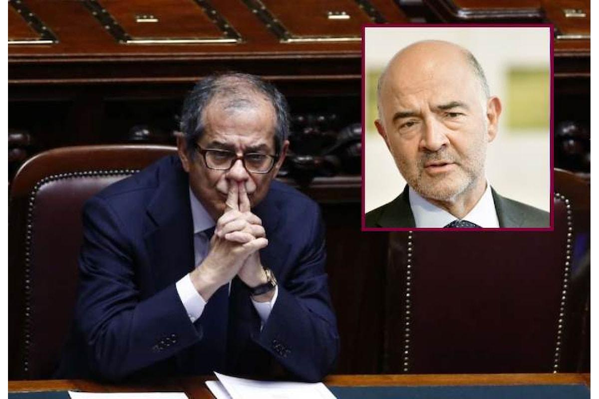 Moscovici consegnerà oggi a Tria la lettera di contestazione sulla manovra e lo spread vola
