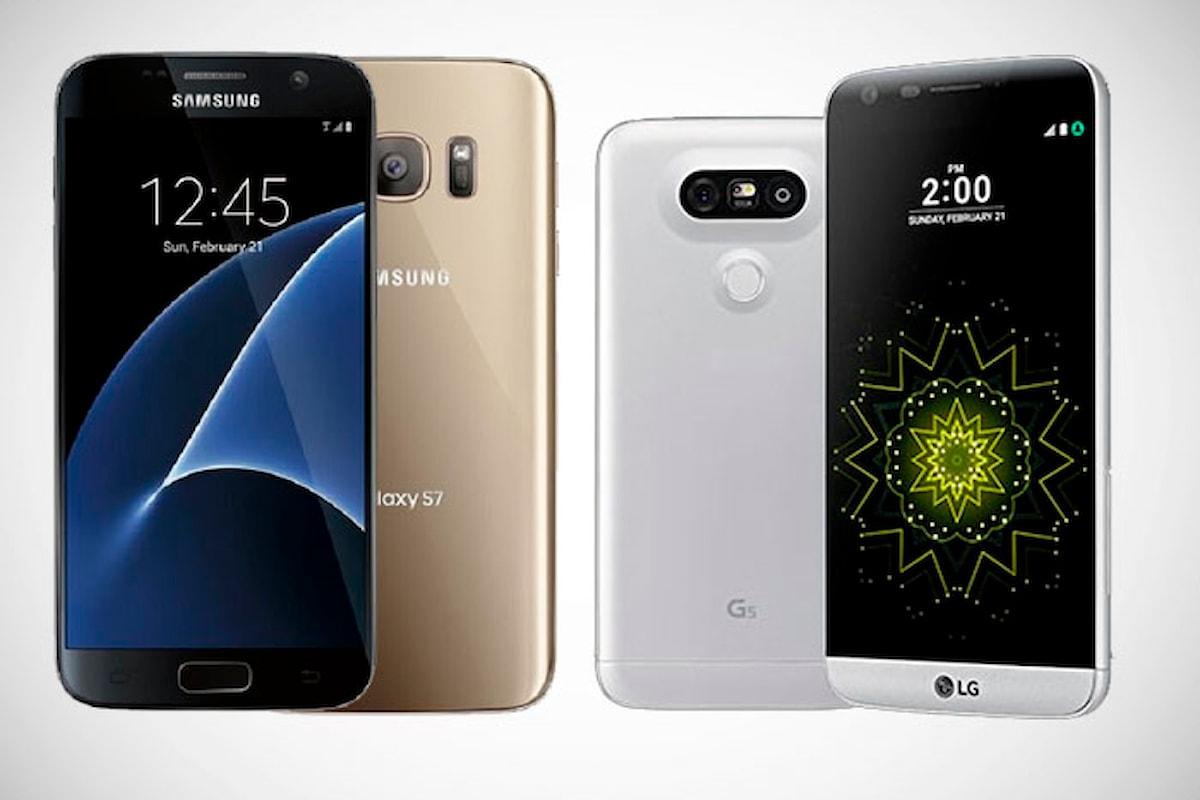 Samsung Galaxy S7 vs LG G5 scontro tra titani