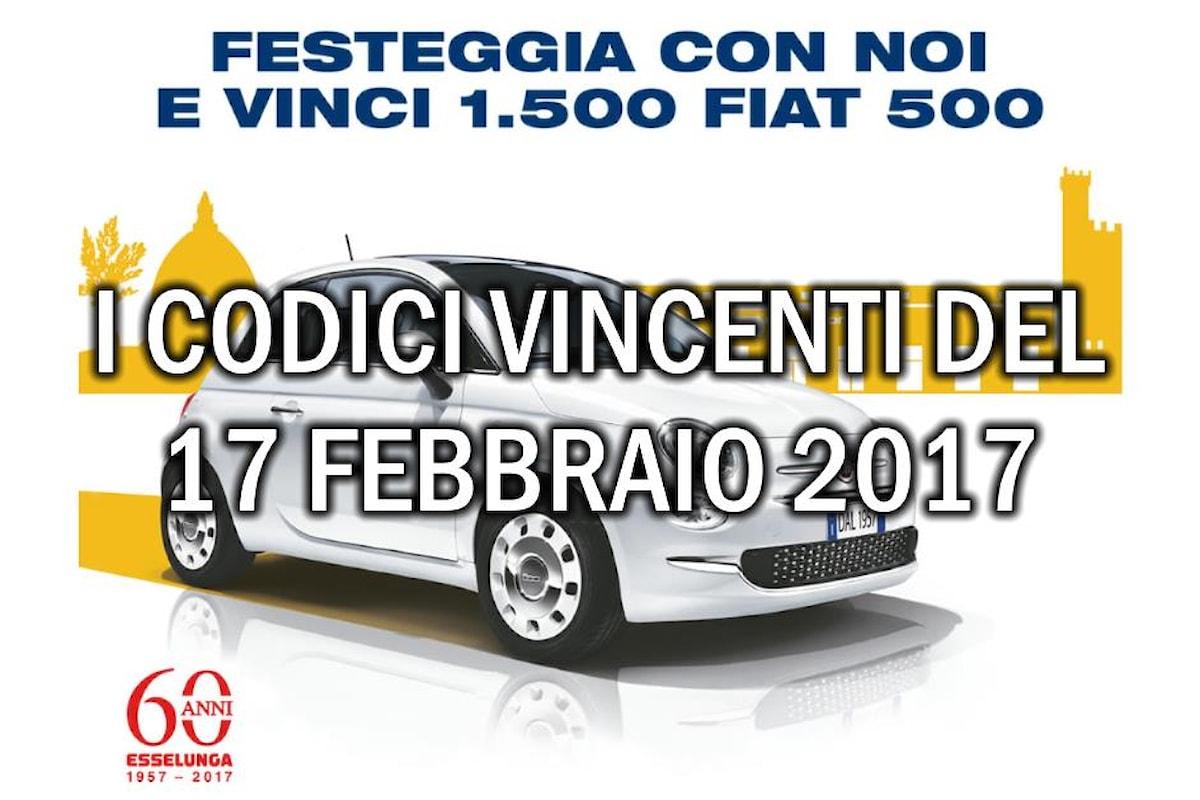 Estrazione codici vincenti Fiat 500 Esselunga del 17 febbraio 2017