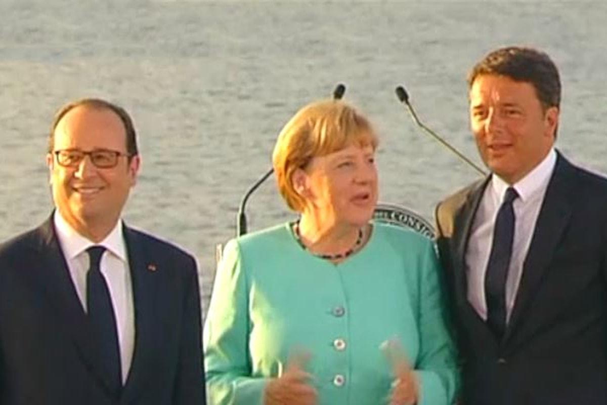 Renzi, Hollande e Merkel si sono riuniti a Ventotene per il solito inutile vertice