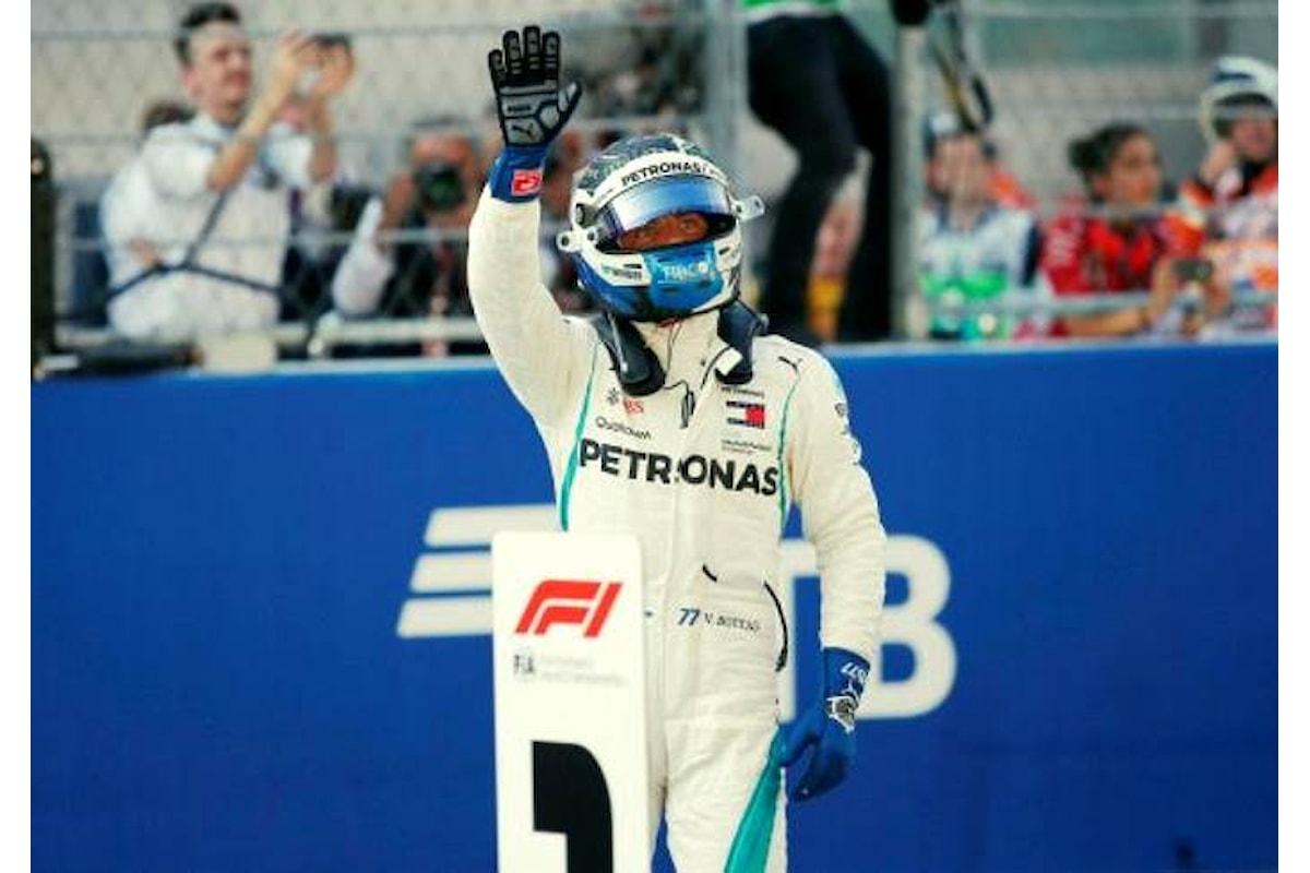 Formula 1, la pole va a Bottas, con le Ferrari nettamente più lente delle Mercedes