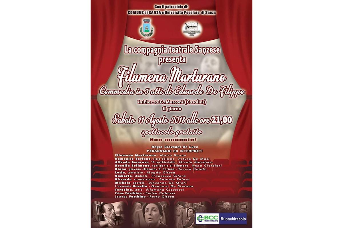 Sanza (SA): Filumena Marturano, la Compagnia Teatrale Sanzese scende in piazza